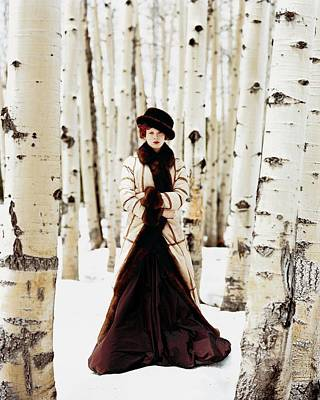 Winter Trees Photograph - Karen Elson Models Gaultier by Arthur Elgort