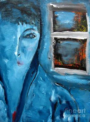 Prussian Blue Painting - Portrait Bleu Avec Le Fenetre by Chaline Ouellet