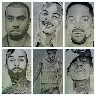 Wiz Khalifa Drawing - Portrait Collage by Monty Virge