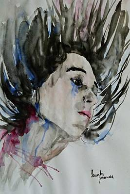 Art Print featuring the painting Portrait- Girl by Ismeta Gruenwald