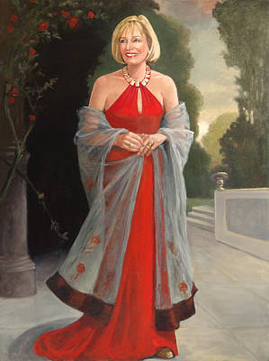 Painting - Portrait In Red Dress by Kathryn Donatelli