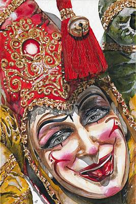 Mardi Gras Drawing - Portrait In Red Venetian Mask - Venice - Acryl - Elena Yakubovich by Elena Yakubovich