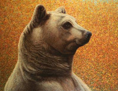 Black Bear Painting - Portrait Of A Bear by James W Johnson