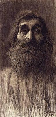 Gustav Klimt Pastel - Portrait Of A Bearded Man by Gustav Klimt