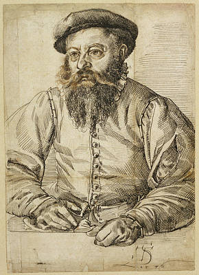 Brown Swiss Drawing - Portrait Of A Bearded Man Tobias Stimmer by Litz Collection