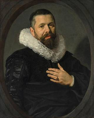 Old Man With Beard Painting - Portrait Of A Bearded Man With A Ruff by Frans Hals