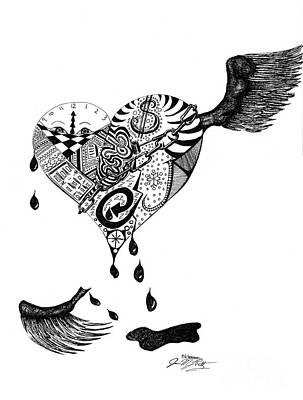 Tears Drawing - Portrait Of A Broken Heart by J M Lister
