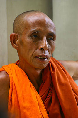 Portrait Of A Buddhist Monk Yangon Myanmar Art Print
