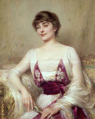 Silk Painting - Portrait Of A Countess by Albert Lynch