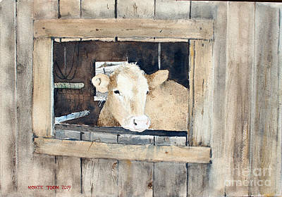 Painting - Portrait Of A Cow by Monte Toon