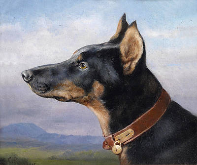 Doberman Art Painting - Portrait Of A Doberman by Carl Reichert