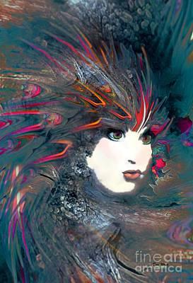 Abstract Digital Art - Portrait Of A Flamboyant Woman by Doris Wood
