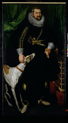 Greyhound Photograph - Portrait Of A Gentleman Said To Be From The Coudenhouve Family Of Flanders, C.1610-20 Oil On Canvas by Hispano-Flemish School