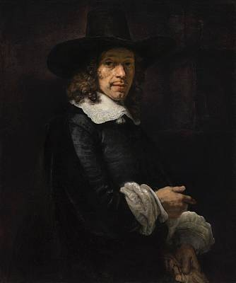 Portrait Of A Gentleman With A Tall Hat And Gloves Art Print by Rembrandt van Rijn