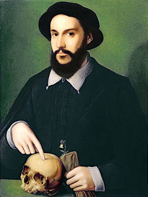Portrait Of A Gentleman With His Right Print by Master of the 1540s