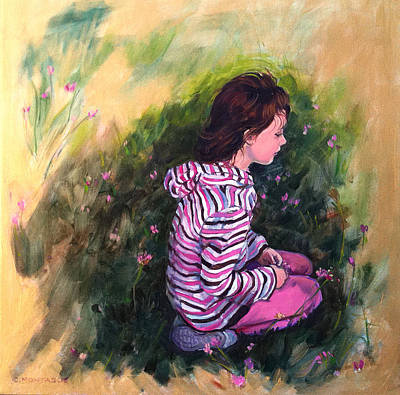 Painting - Portrait Of A Girl Study.. Golden Days Of Childhood by Christine Montague