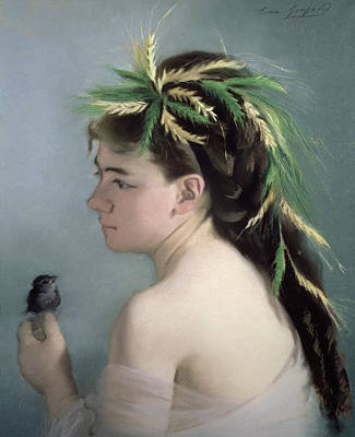Portrait Of A Girl Holding A Sparrow Pastel Print by Eva Gonzales