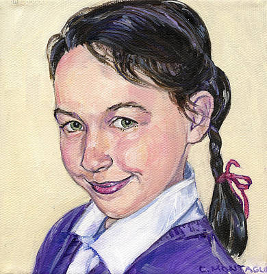 Painting - Portrait Of A Girl With Braid by Christine Montague