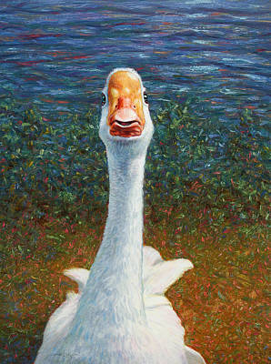 Duck Wall Art - Painting - Portrait Of A Goose by James W Johnson