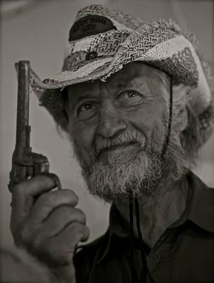 Portrait Of A Joyful Gunslinger . Viewed 244 Times  Art Print by  Andrzej Goszcz