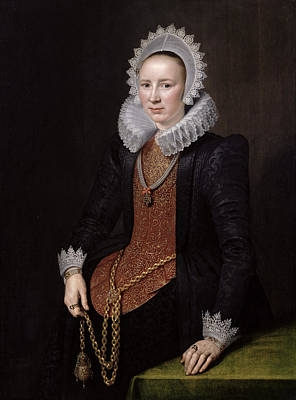 Portrait Of A Lady Aged 29, 1615 Oil On Panel Art Print by Michiel Jansz. van Miereveld