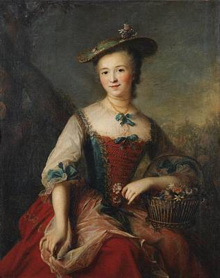 Holding A Flower Painting - Portrait Of A Lady Holding A Flower Basket by Celestial Images