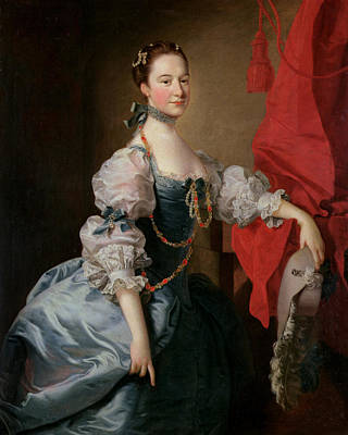 Feathered Hat Painting - Portrait Of A Lady In A Blue Gown by Thomas Hudson