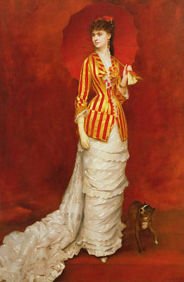 Red And Yellow Painting - Portrait Of A Lady In A Striped Jacket by Edouard Alexandre Sain