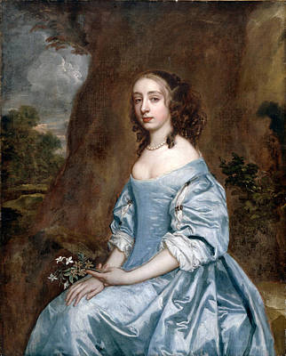 Lady In Blue Painting - Portrait Of A Lady In Blue Holding A Flower by Peter Lely