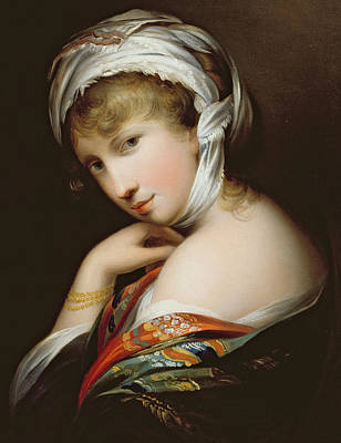 Silk Painting - Portrait Of A Lady In Eastern Dress by English School