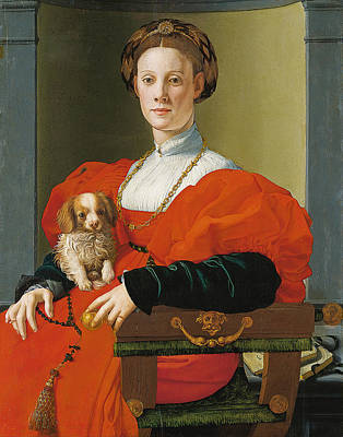Portrait Of A Lady With A Lapdog Art Print