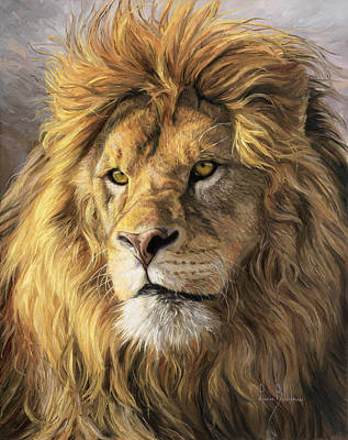 Wild Cat Painting - Portrait Of A Lion by Lucie Bilodeau