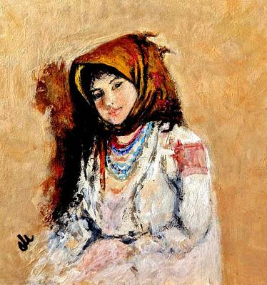 Painting - Portrait Of A Little Peasant Girl.. by Cristina Mihailescu