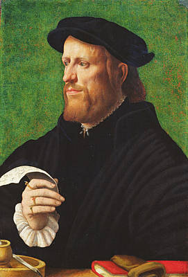 Contemplative Photograph - Portrait Of A Man, 1575 Oil On Wood by Dutch School