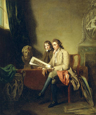 Portfolio Painting - Portrait Of A Man And A Boy Looking At Prints Gentleman by Litz Collection