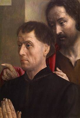 With Prayer Painting - Portrait Of A Man At Prayer With Saint John The Baptist by Hugo van der Goes