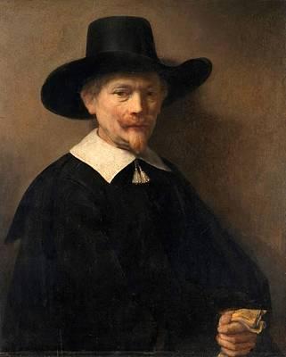 Golden Glove Painting - Portrait Of A Man Holding Gloves by Rembrandt van Rijn