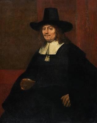 Portrait Of A Man In A Tall Hat Art Print by Rembrandt van Rijn