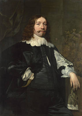 Man In Black Painting - Portrait Of A Man In Black Holding A Glove by Bartholomeus van der Helst