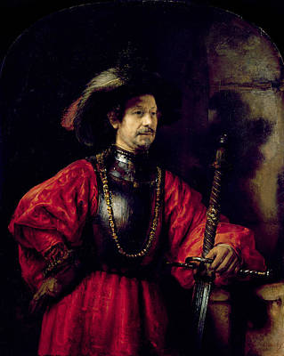 Feathered Hat Painting - Portrait Of A Man In Military Costume by Rembrandt Harmensz. van Rijn
