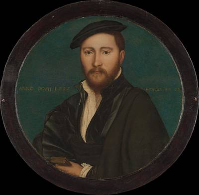 Gold Metal Painting - Portrait Of A Man Sir Ralph Sadler by Workshop of Hans Holbein the Younger