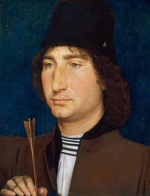 1470 Painting - Portrait Of A Man With An Arrow by Hans Memling