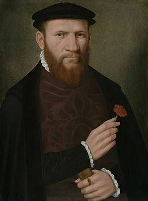 Carnations Painting - Portrait Of A Man With His Right Hand by Master of the 1540s