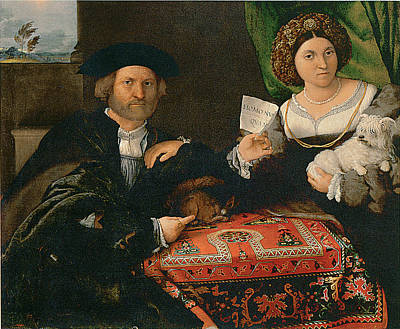 Of A Man And Woman Painting - Portrait Of A Married Couple by Lorenzo Lotto