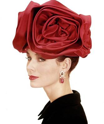 Earrings Photograph - Portrait Of A Model Wearing A Hat Of Roses by Henry Clarke