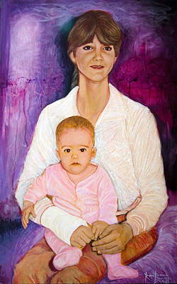 Painting - Portrait Of A Mother With Broken Arm by Ron Richard Baviello