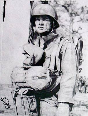 Vietnam War Drawing - Portrait Of A Paratrooper by Hannah Woleslagle