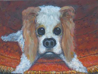 Painting - Portrait Of A Puppy by Samuel Daffa