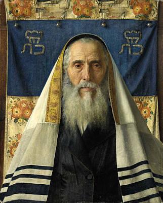 Isidor Kaufmann Painting - Portrait Of A Rabbi With Prayer Shawl by Isidor Kaufmann