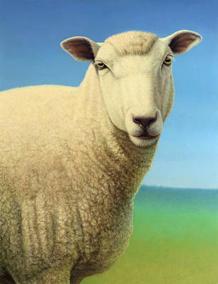 Domestic Painting - Portrait Of A Sheep by James W Johnson